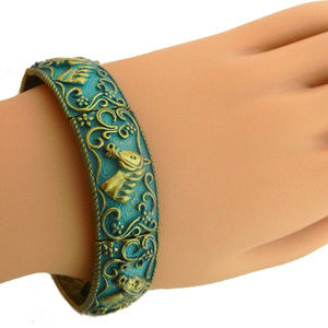 Jewelry - Stretch Bracelet-Horse Head - Turquoise & Gold